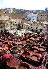 Sat, 29/04/2006 - 12:03 - In the medina, Fes. in these tanneries, leather are prepared before transformation. A beautiful daily show, but probably one of the worst job I've ever seen...  Morocco 2006/05 by christing-O- on Flickriver  christing-O-'s Photos on Flickriver