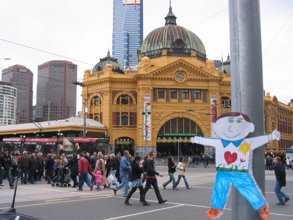 Flat Stanley outside Flinders Street Station, Melbourne