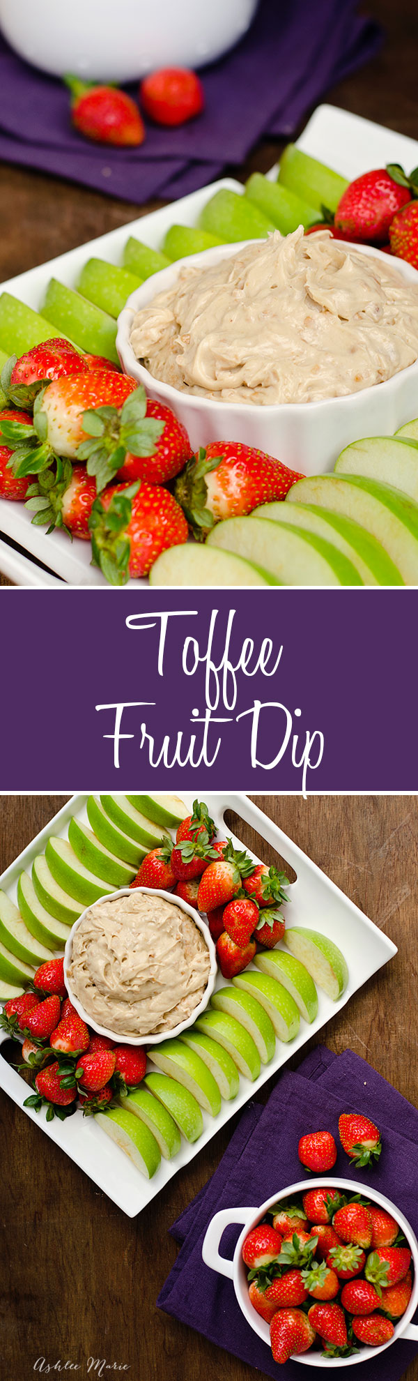 this toffee fruit dip is sweet and delicious.  the toffee bits add a great crunch that is oh so good with apples, bananas, strawberries and other fruits