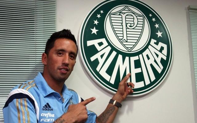 Barrios admite n�o estar 100% fisicamente, mas comemora primeiro gol pelo Verd�o