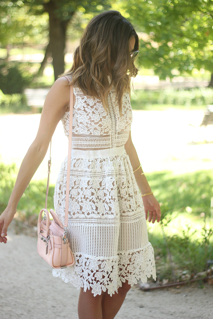 white lace dress summer outfit carolina herrera heels coach bag dior sunnies22
