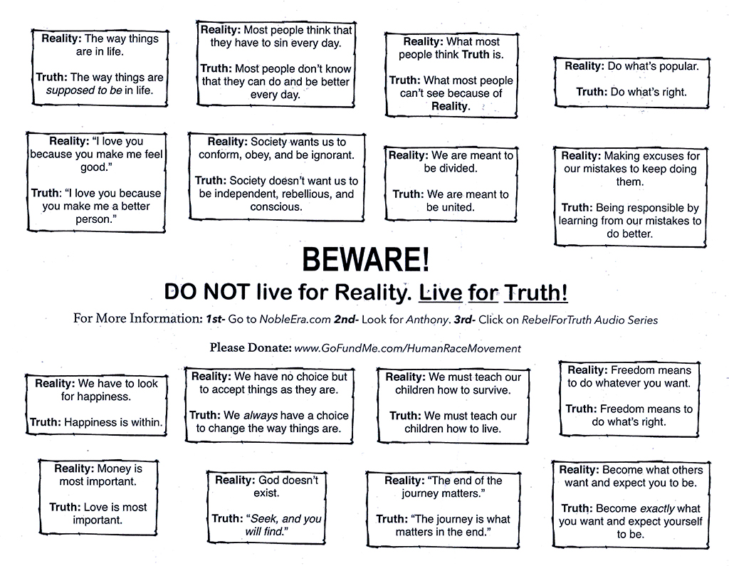 Love and Truth Movement advocator's flyer--Center City