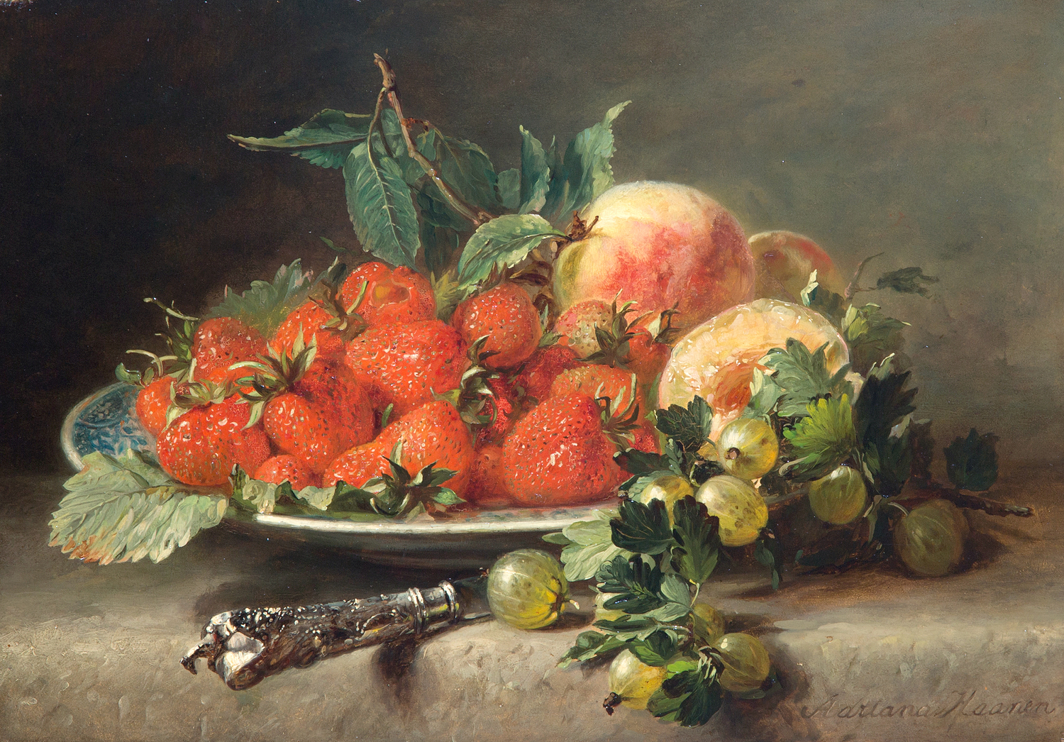 Still Life with Strawberries and Gooseberries by Adriana Johanna Haanen, 19th Century