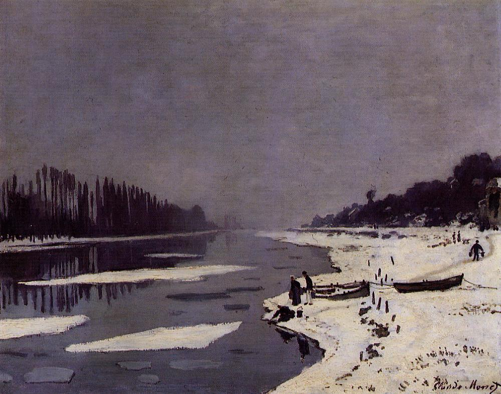 Ice Floes on the Seine at Bougival by Claude Oscar Monet - 1867-1868