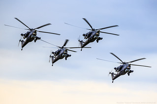 "Aerobatic team ""Golden Eagles"" (""Berkuty"") on the Mi-28N"