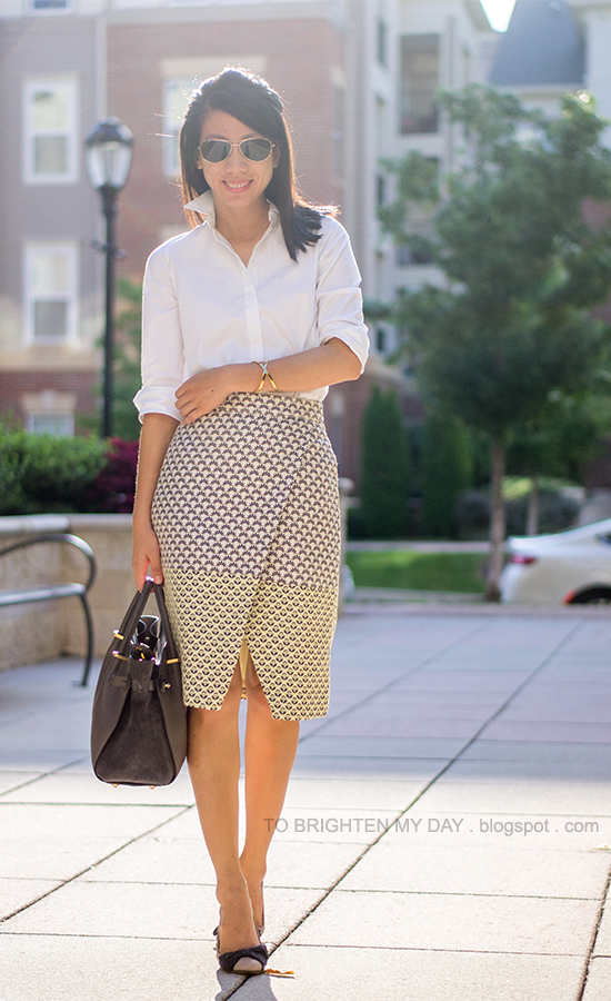 white dress shirt, brocade printed wrap skirt, bow ballerina flats, gray tote