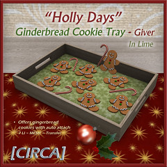 "@ Twisted Krissmuss ~ [CIRCA] - ""Holly Days"" - Gingerbead Cookie Tray - In Lime"