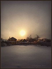 Winter evening in the village.