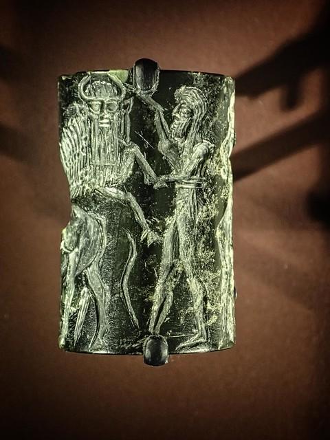 Diorite Akkadian Cylinder Seal found in Ur in modern day Iraq 2300-2100 BCE