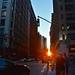 Manhattan street sunset