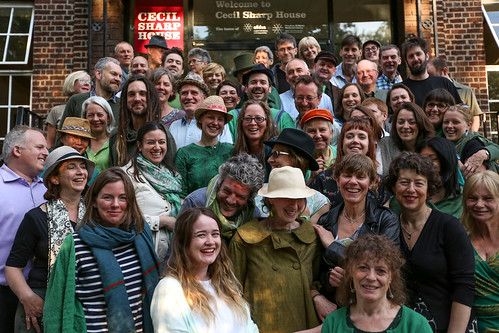 Cecil Sharp House Choir on the steps of Cecil Sharp House, May 2015, photo © EFDSS, photographer Roswitha Chesher