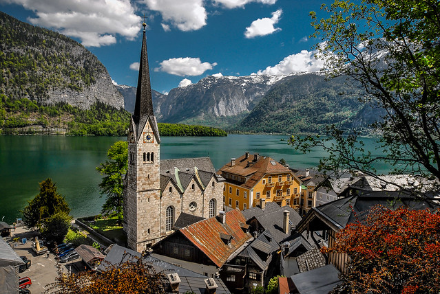 Postcard view of Hallstatt, Austria