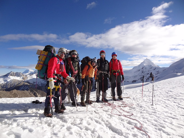 Highlights of the Cordillera Blanca Traverse: Freddy, Beto, Claus, Barney & me at the Ishinca-Ranrapallca Col