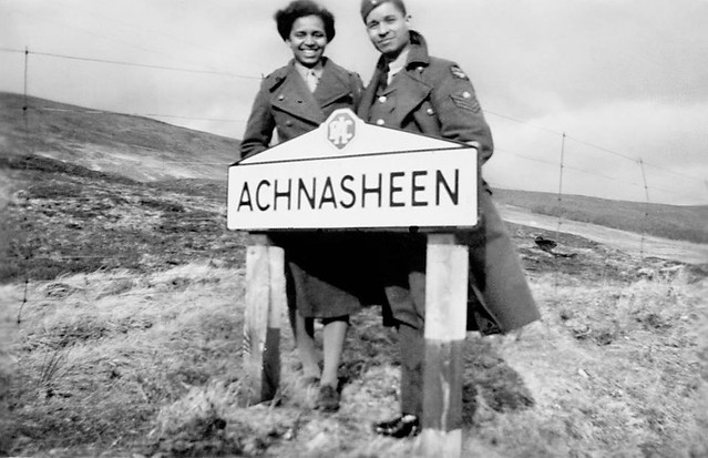 Nadia Cattouse, ATS, with her cousin Poli Balderamos, RAF, in Scotland, during the Second World War, circa 1943-5