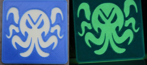 3D Printing - Glowing Cthulhu Coaster (Blue) - Before After