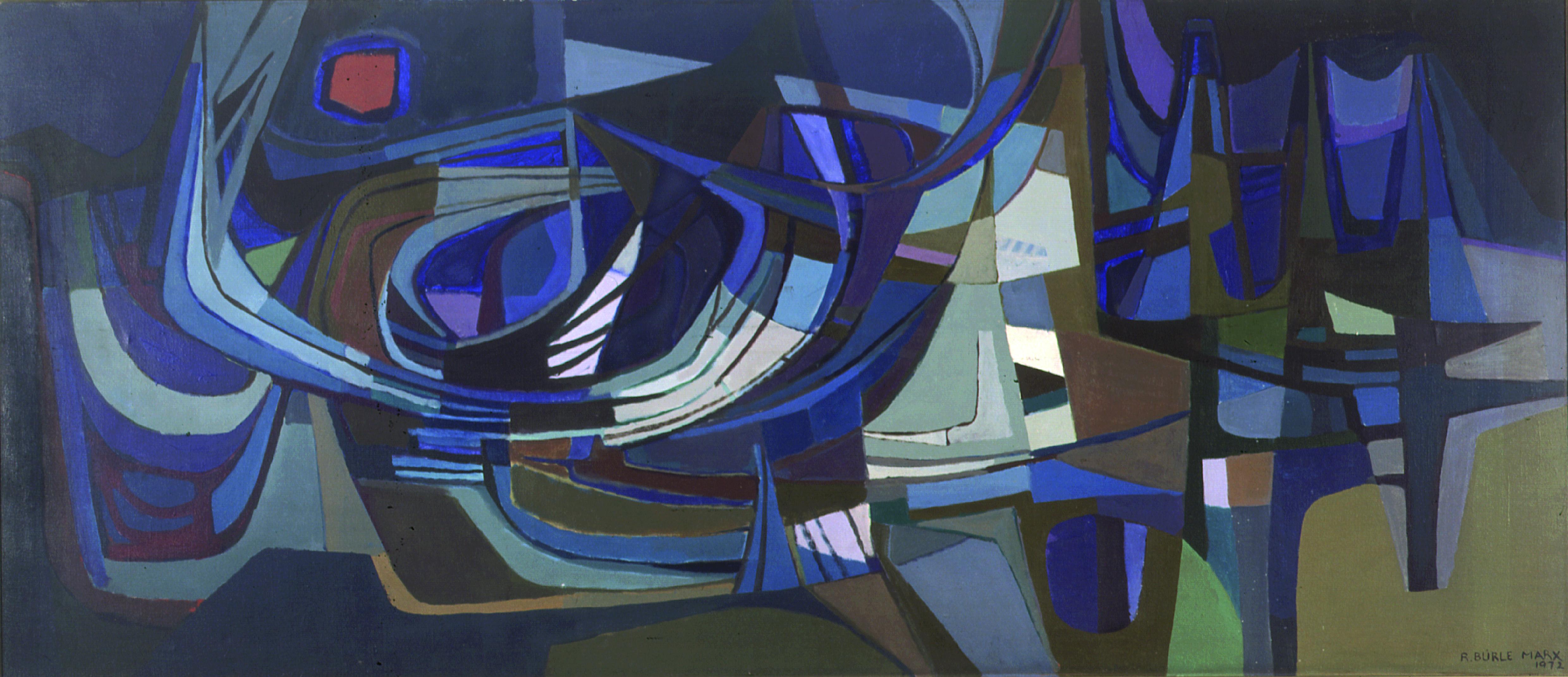 Composição Autor: Roberto Burle Marx Ano: 1972 Técnica: Óleo sobre tela Dimensão: 130cm x 300cm