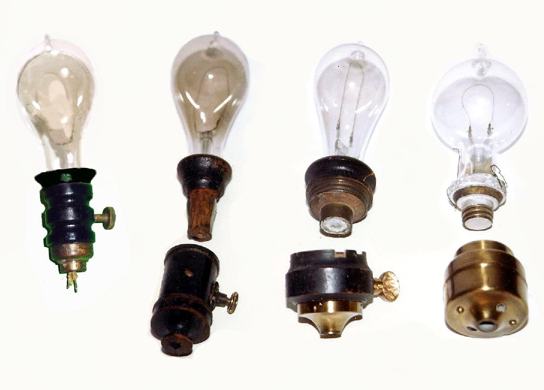 Evolution of Edison's incandescent electric light bulb and socket - 1880-1881. Credit Richard Warren Lipack