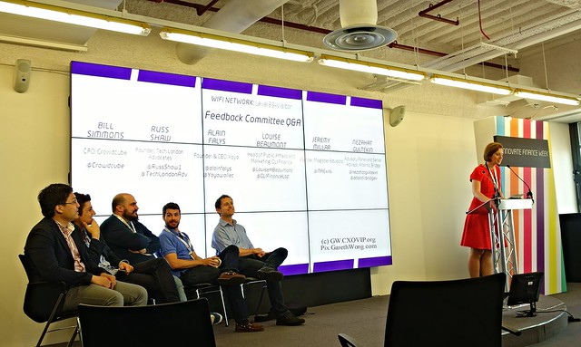 Great VCs panel grilled @ZachCTan @Belimad @nicholassharp @mtreskow @robmoff w/ Georgia Hanias @GeorgiaHanias Head of Comms Innovate Finance after VC pitches from RAW _DSC3580