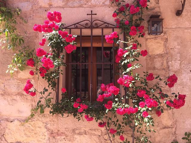 Ventana enrejada con flores en Pedraza (Segovia)