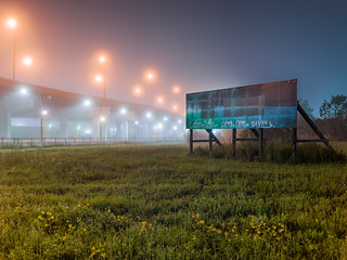 Empty Billboard In The Fog