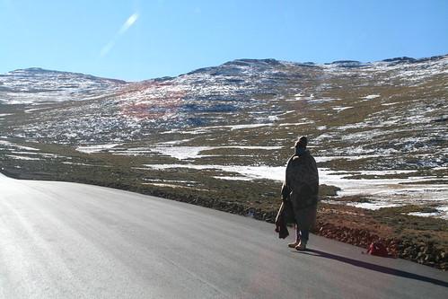 Basotho blanket on lady in Lesotho