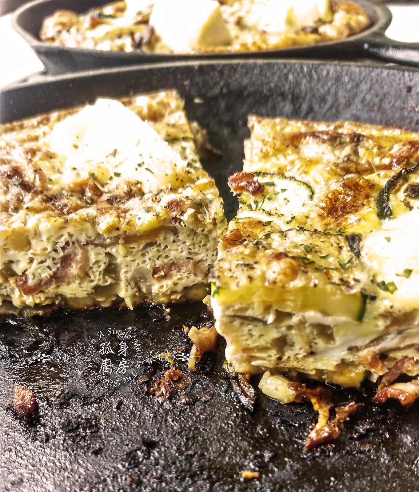 孤身廚房-清冰箱簡單早午餐!培根野菇櫛瓜義式烘蛋Frittata24