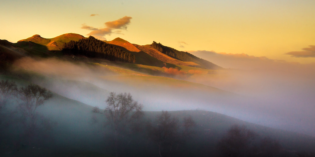 Hills above the early morning mist