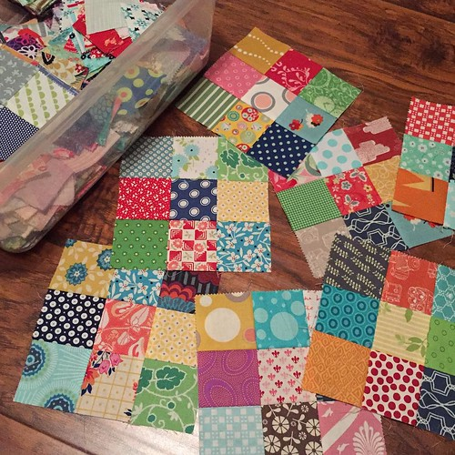 210:365 Cleaning up the sewing room I found a stash of squares and 9-patch blocks from almost a year ago. Whipped up 7 more blocks this evening.