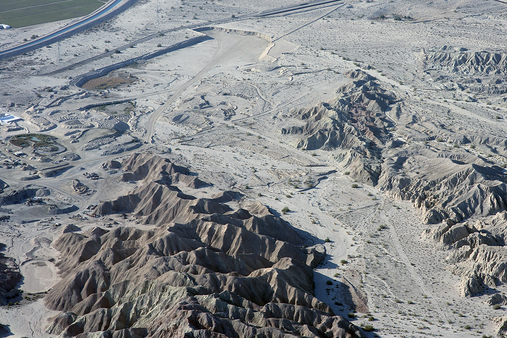 Aerial view of the San Andreas Fault, Quarry Canyon, Mecca Hills, Riverside County, California