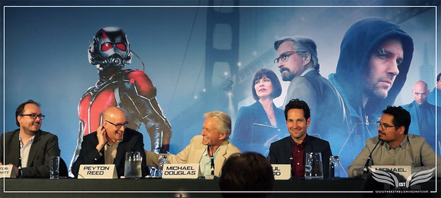 The Establishing Shot: MICHAEL DOUGLAS JOKING WITH DIRECTOR PEYTON REED @ THE ANT-MAN EUROPEAN PRESS CONFERENCE - CORINTHIA HOTEL LONDON