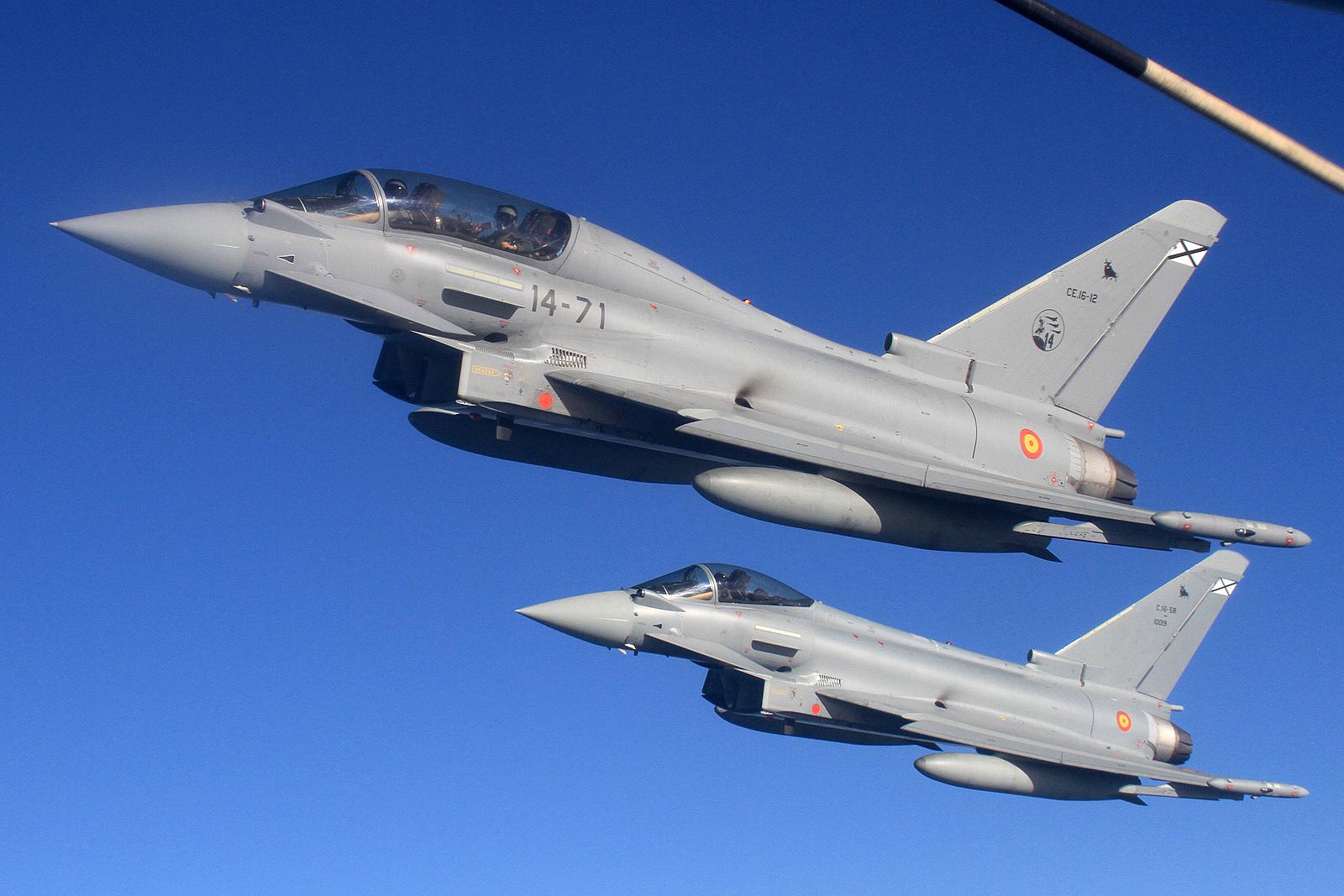 Dos aviones Eurofighter durante un vuelo