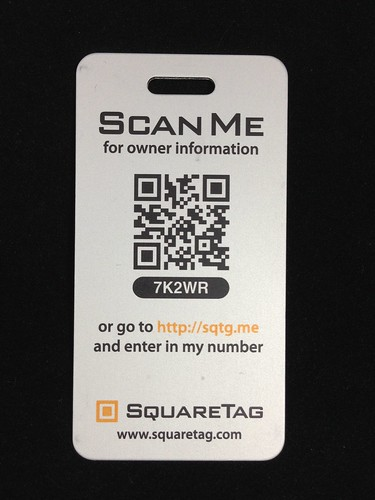 Sample SquareTag luggage tag