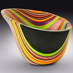 Helen Rudy; Strata Vessel; Fused glass; 11x9 -