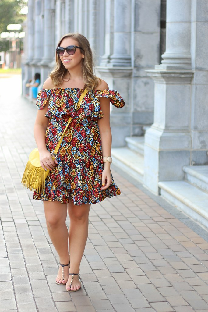 Off Shoulder Printed Dress in Boston