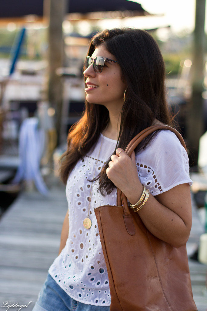 eyelet lace top, denim shorts, brown leather tote-5.jpg