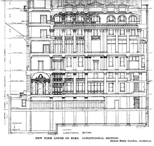 Elks Lodge #1, New York City, NY (1910 - Longitudinal Section Floor Plan)