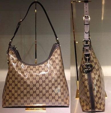 $459 Medium Britt Hobo in Brown GG Crystal 339553_FZIFG_9903