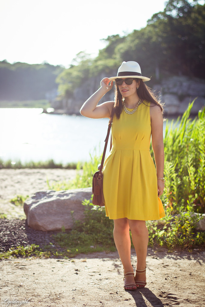 yellow dress, panama hat, summer outfit.jpg