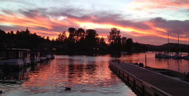 Sunset over the lake at Westlake Village