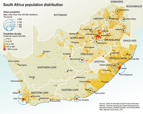 factors influencing population distribution and density in southern africa Population distribution & density distribution of africa's population the north and south of the african continent is far more sparsely populated with.