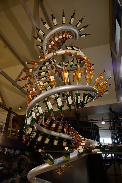 214-20160726_The Glenlivet Distillery-Banffshire-Visitor Centre-display of malt whisky bottles