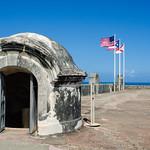 Image of Castillo San Cristóbal near San Juan. puertorico fort flags sanjuan pr castillodesancristóbal