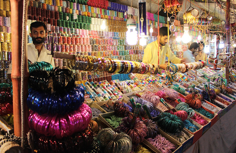 All that glitters on display at bangles stall. Photo by: Sana Jamal