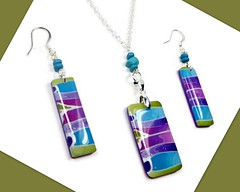 polymer clay Turquoise-Olive-Purple Necklace & Earring set