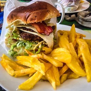 Menu Land Awesome Burgers.  Chan Chan Ruins.  Huanchaco, Peru.