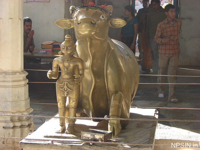 A large 4 tons Panchadattu (gold, silver, copper, brass and zinc) Nandi