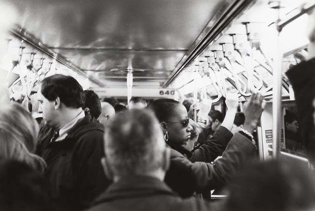 The daily 33rd street PATH train grind at evening rush hour. I did this for way too many years. One day I brought my Nikon FG to capture the experience of people who went through the same subterranean commute. New York. October 1988.