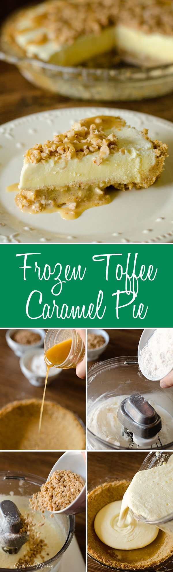 This frozen toffee caramel pie is easy to make and everyone loves it.  Perfect for a sweet, cool summer dessert.  You can easily change it to any other flavor combination as well.