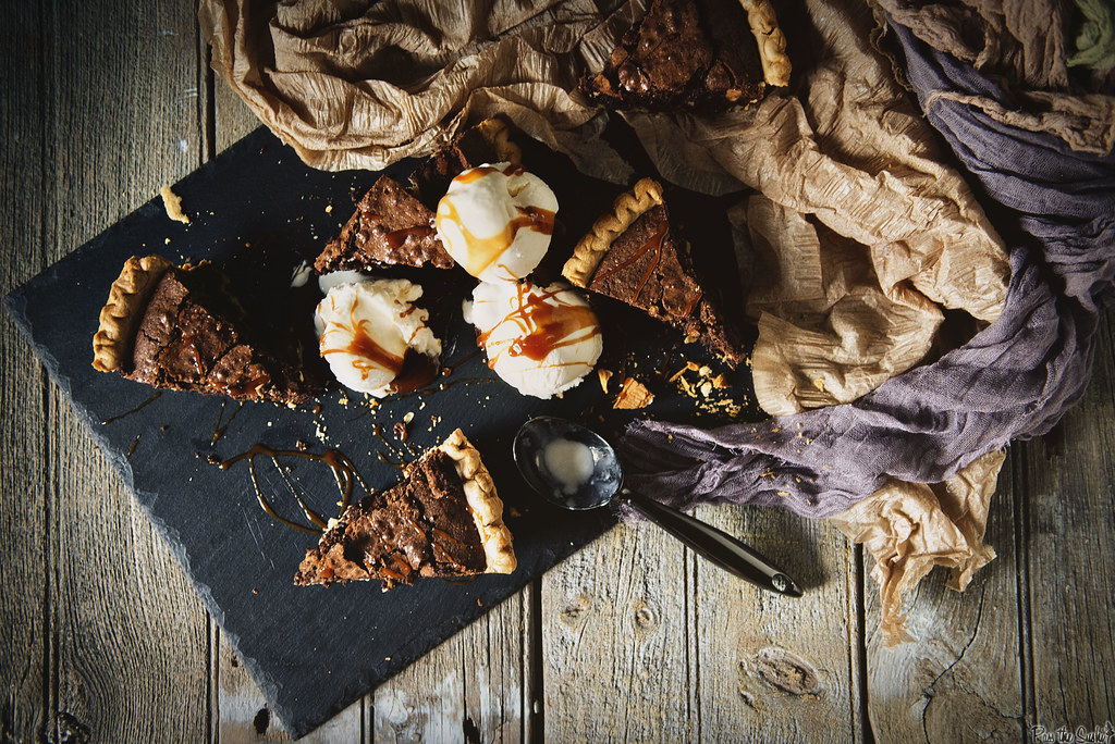 Brownie Walnut Pie Recip. Perfect warm with a scoop of ice cream! | PasstheSushi.com
