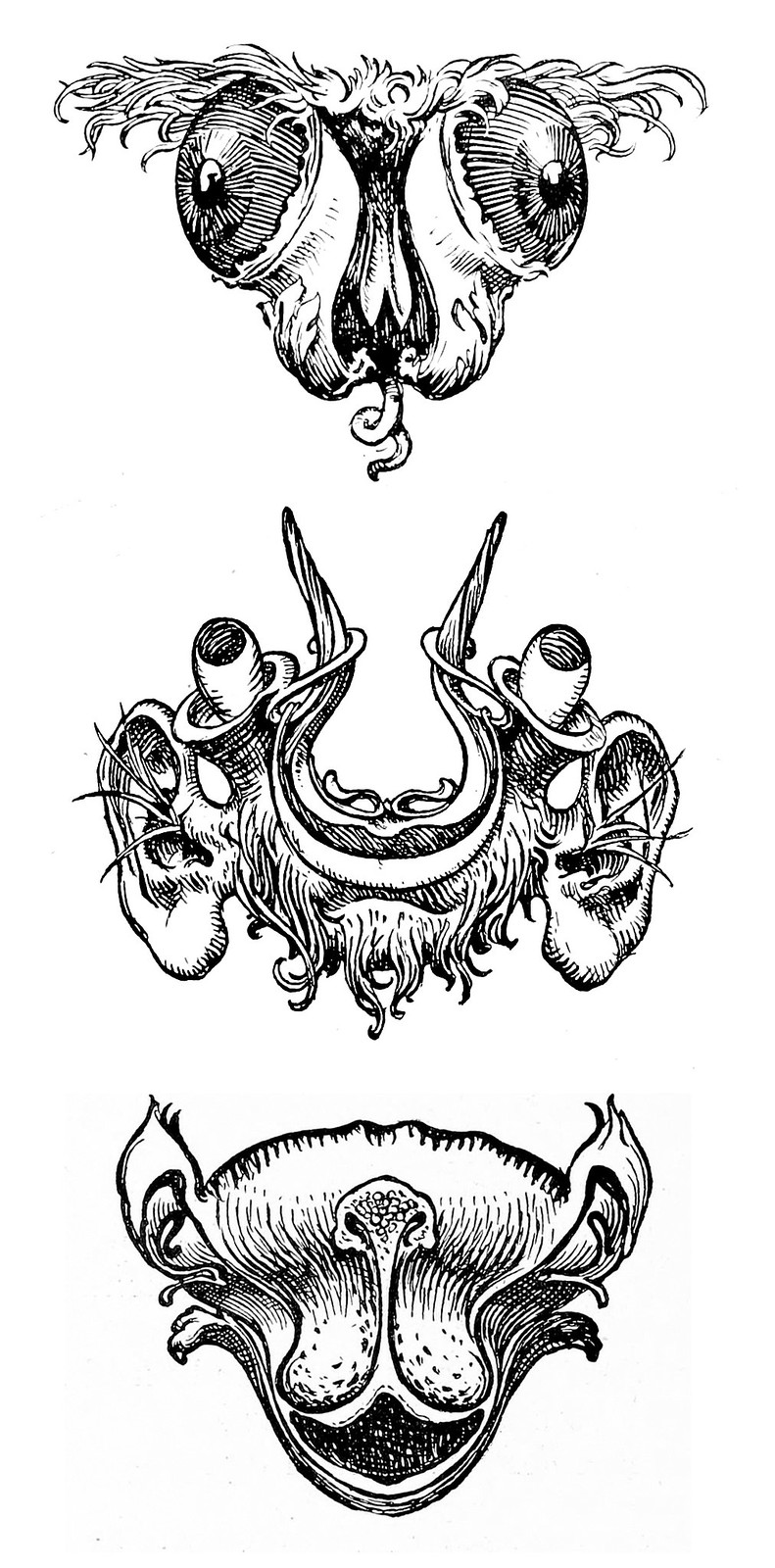 "Hans Tegner - Assortment of grotesque head illustrations (1) from ""Fairy tales and stories"" by Hans Christian Andersen, 1900"